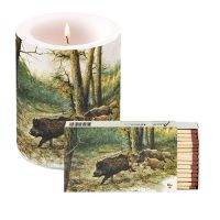 Rien Poortvliet candle with matches WILD BOAR IN THE FOREST